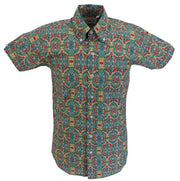 Relco Mens Green Multi Paisley Short Sleeved Retro Mod Button Down Shirt