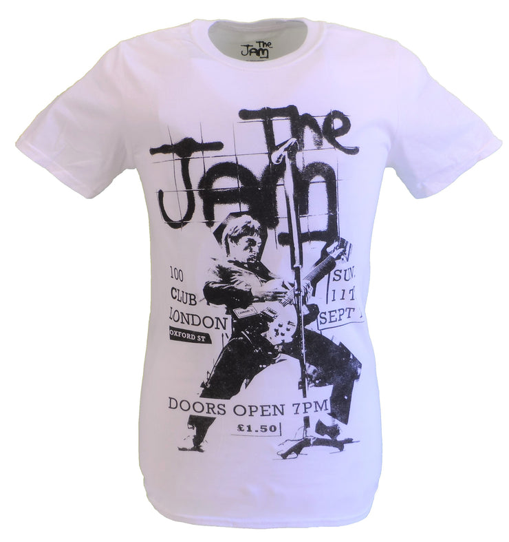 Mens White Target Officially Licensed 100 Club The Jam T Shirt