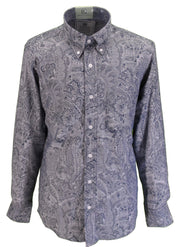 Relco Mens Platinum Blue Paisley Long Sleeved Button Down Shirt
