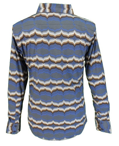 Run & Fly Mens 60s 70s Retro Mod Pop Art Psychedelic Wave Print Shirt