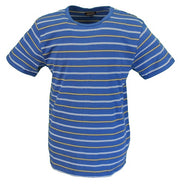 Run & Fly Mens Retro Cobalt Blue Indie 60s Striped Cotton T Shirt