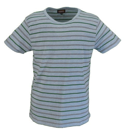 Run & Fly Mens Retro Sky Melange Indie 60s Striped Cotton T Shirt