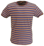 Run & Fly Mens Brown 60s 70s Retro Mod Striped T Shirt