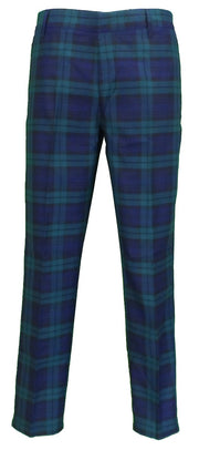 Run & Fly Mens 60s Vintage Retro Mod Checked Blackwatch Tartan Skinny Fit Trousers