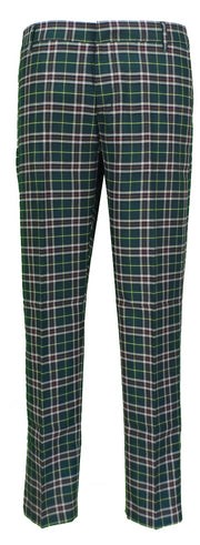 Run & Fly Mens 60s Vintage Retro Mod Checked Green Tartan Skinny Fit Trousers