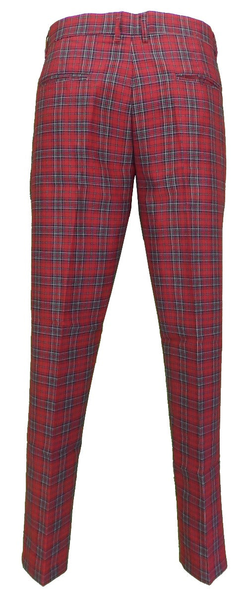 Run & Fly Mens 60s Vintage Retro Mod Checked Red Tartan Skinny Fit Trousers