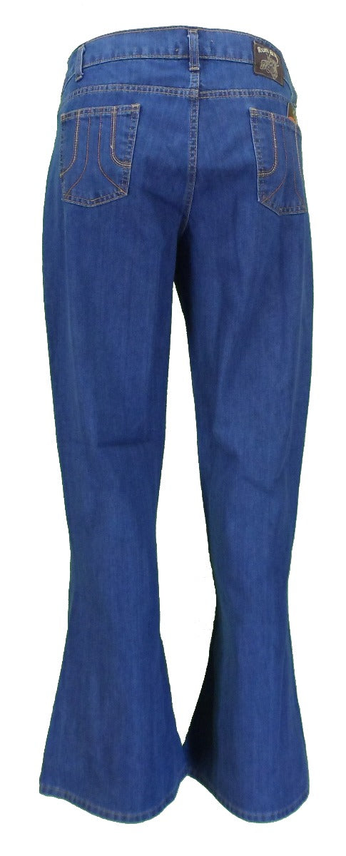 Run & Fly Mens Vintage 60s 70s Retro Bell Bottom Super Stonewashed Flares