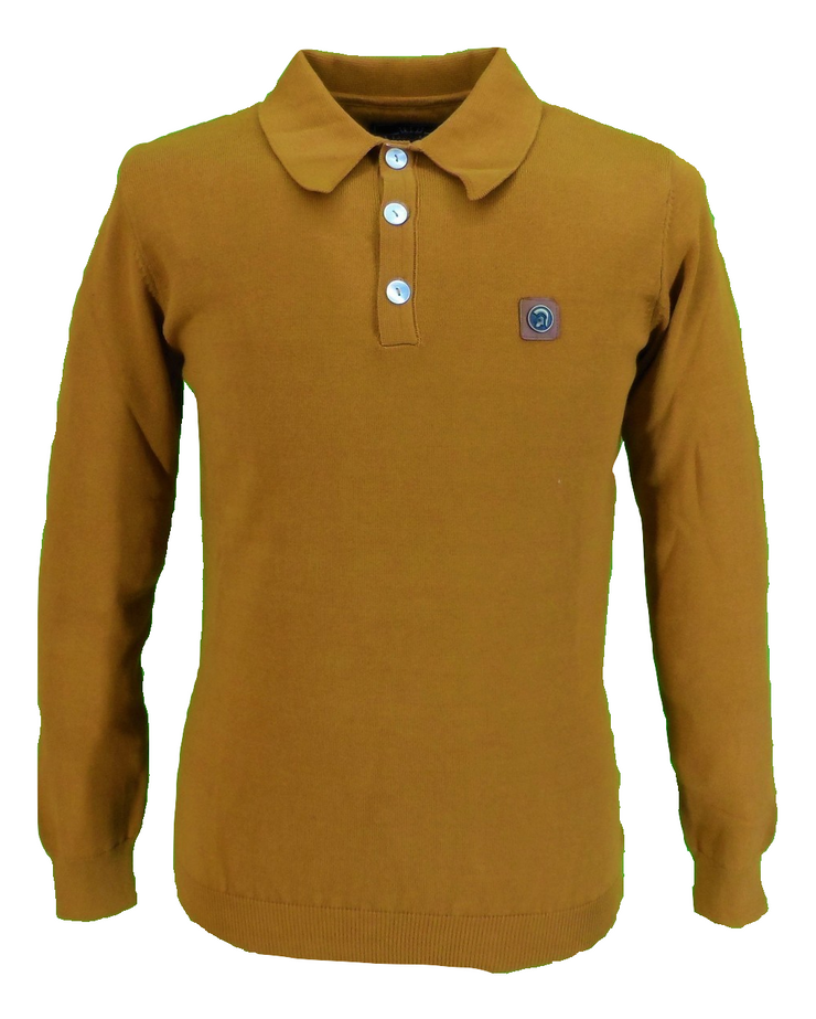 Trojan Mens Golden Tan Spear Point Collar Knitted Polo Shirt