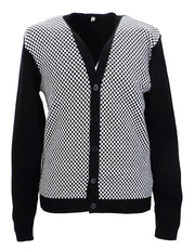 Classic Retro Black and White Checkerboard Cardigan