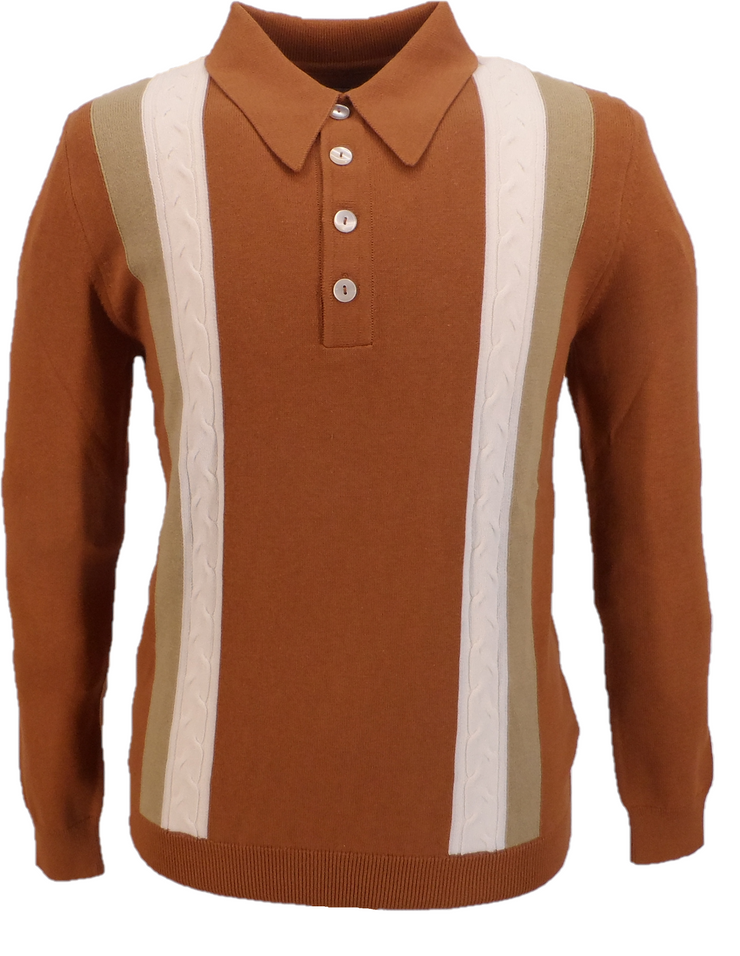 Ska & Soul Mens Ginger Brown Cable Front Striped Knitted Spear-Point Polo Shirt