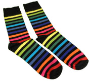 Mens 2 Pair Pack Black Rainbow Multi Striped Retro Socks