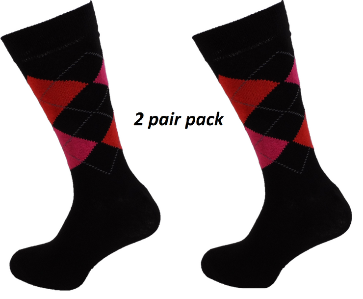 Mens 2 Pair Pack of Black Argyle Patterned Socks