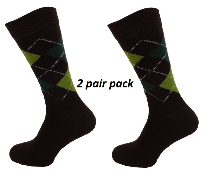 Mens 2 Pair Pack of Brown Argyle Patterned Socks