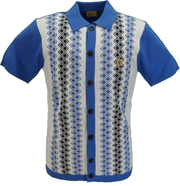 Gabicci Vintage Mens Blue Short Sleeved Retro Knitted Polo Cardigans