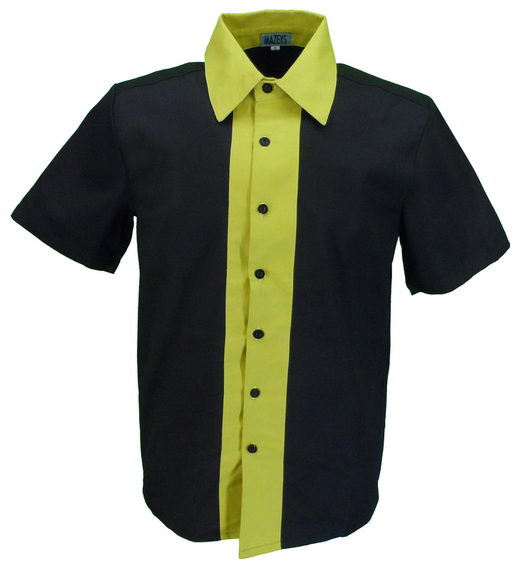 Mazeys Mens Retro Black and Yellow Rockabilly Bowling Shirts