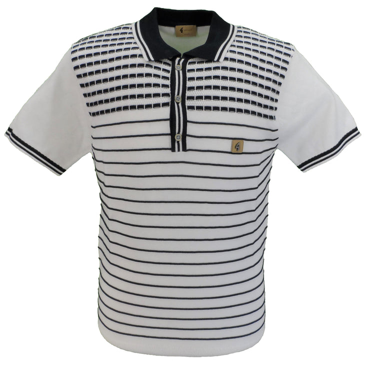 Gabicci Vintage Mens White/Navy Knitted Polo Shirt