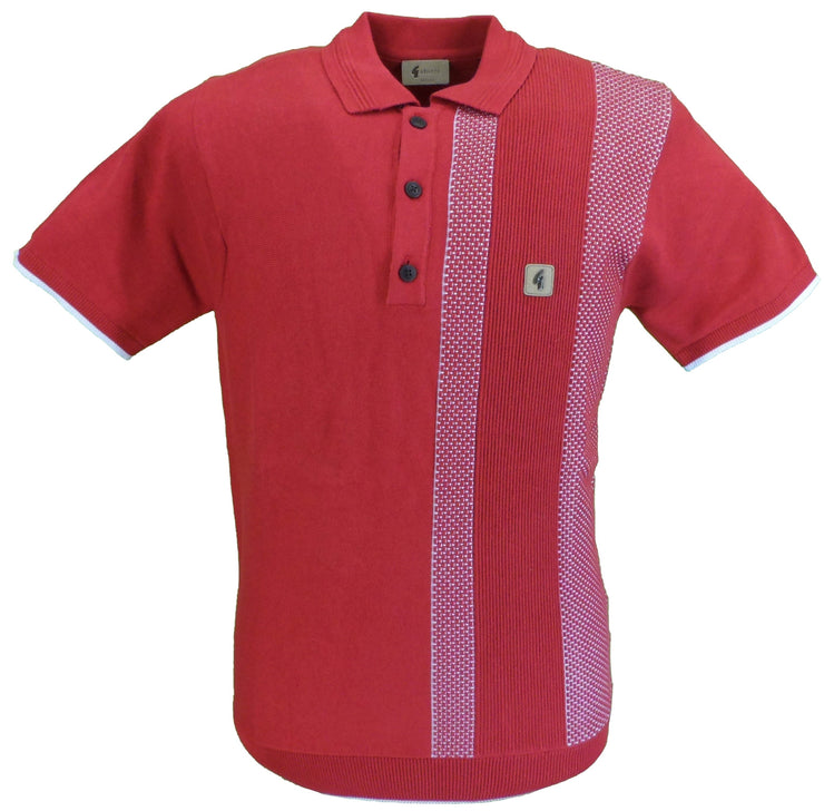 Gabicci Vintage Mens Lava Red Knitted Polo Shirt