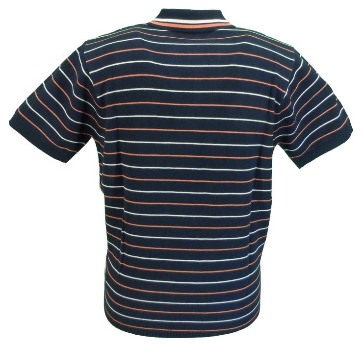 Gabicci Vintage Mens Navy Retro Knitted Polo Shirt