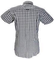 Relco Black & White 100% Cotton Short Sleeved Vintage Retro Mod Button Down Shirts