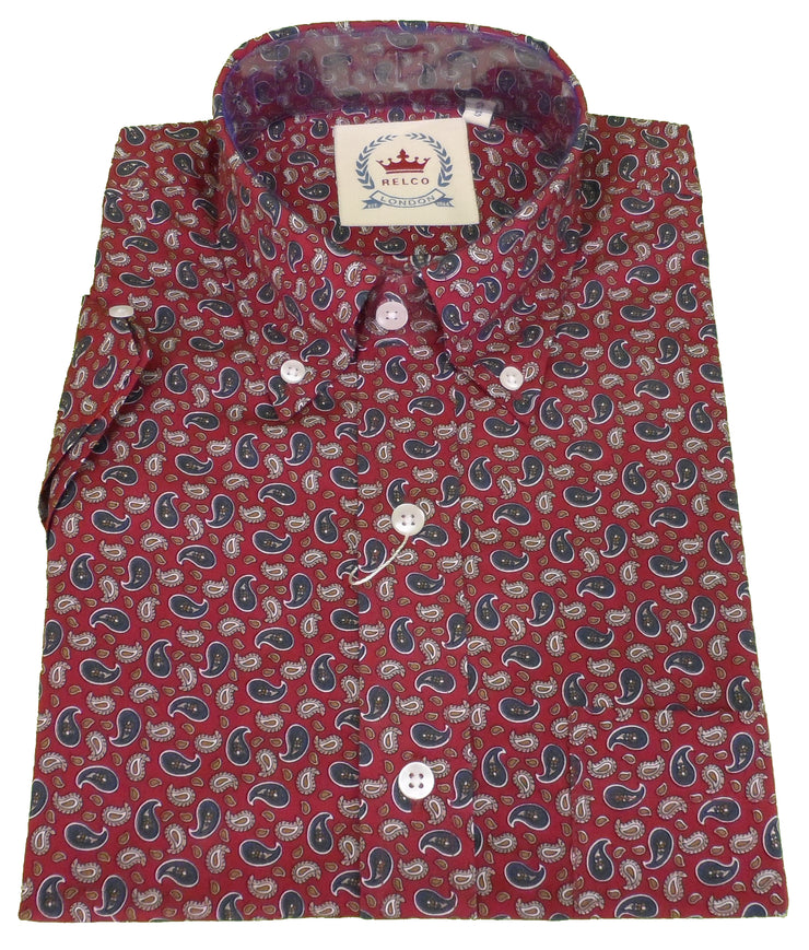 Relco Mens Burgundy Paisley Short Sleeved Button Down Shirt