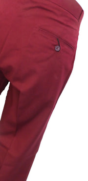 Burgundy 60S 70S Retro Mod Vintage Sta Press Trousers