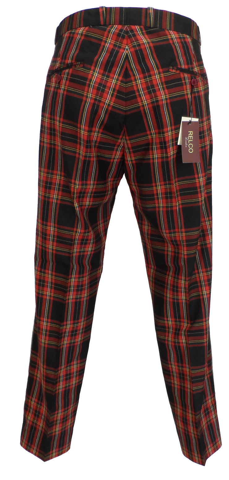 Relco Stewart Tartan 60S 70S Retro Mod Vintage Sta Press Trousers