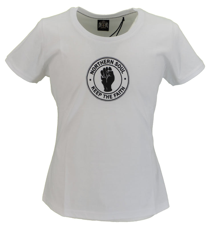 Stomp Ladies White Keep The Faith Northern Soul T Shirts