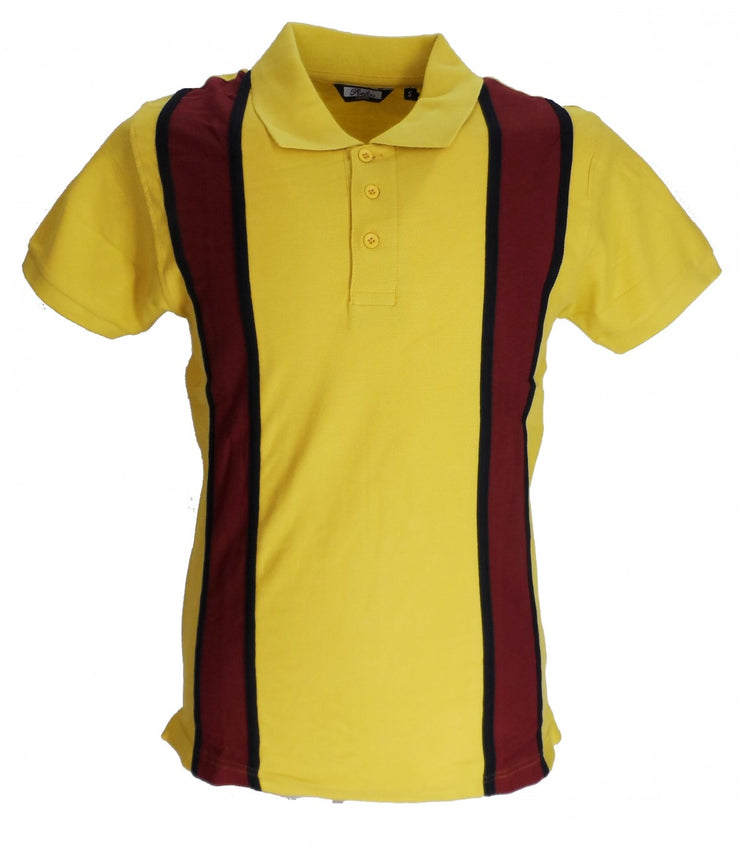 Relco Striped Vintage Style Mod Mustard & Burgundy Polo Shirt