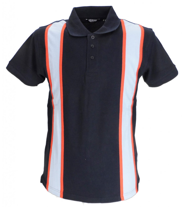 Relco Striped Vintage Style Mod Polo Shirts Navy/Sky