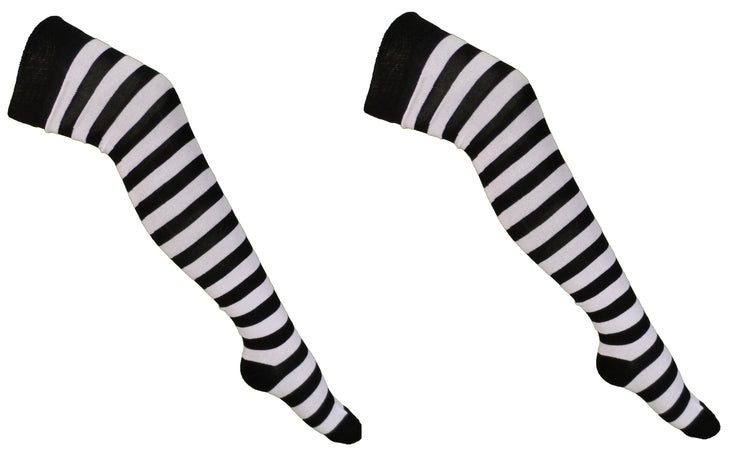 Ladies 2 Pair Pack of White/Black Striped Over the Knee Socks