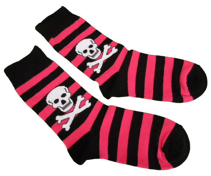 Ladies 2 Pair Fuchsia Striped Skull and Crossbone Socks