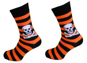 Ladies 2 Pair Orange Striped Skull and Crossbone Socks