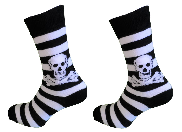 Ladies 2 Pair Black/White Striped Skull and Crossbone Socks