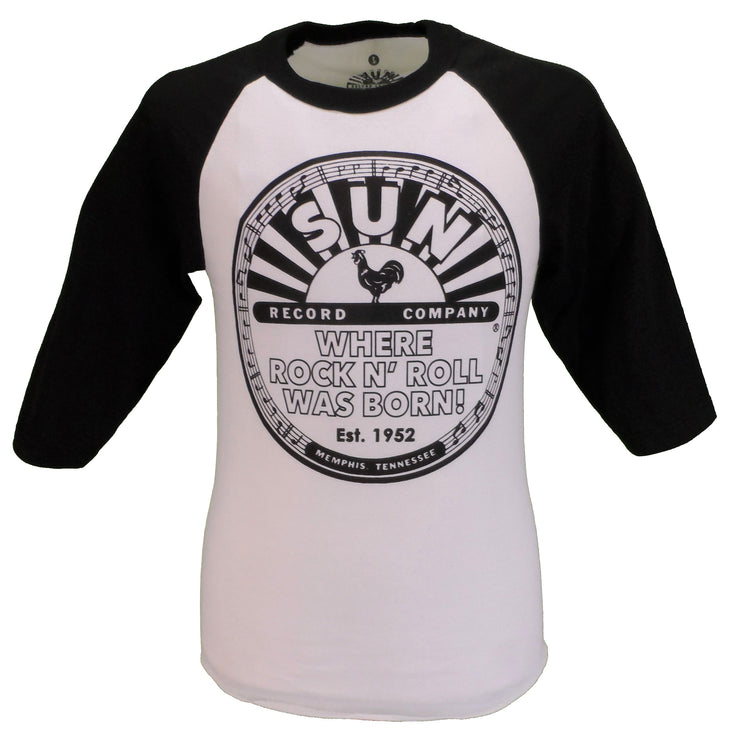 Sun Records Mens White and Black Cotton T Shirt