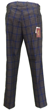 Relco Mens Blue/Grey/Mustard Tartan Check Slim Fit Sta-Press Trousers