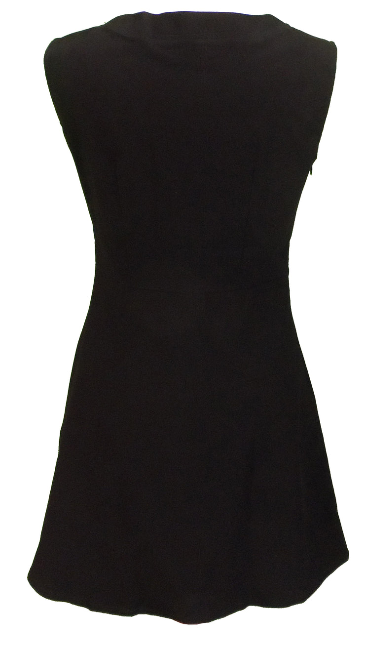 Ladies Retro 60's Modette Half Target Black Mod Mini Dress