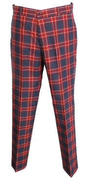 Burgundy/Grey Tartan 60S 70S Retro Mod Vintage Sta Press Trousers