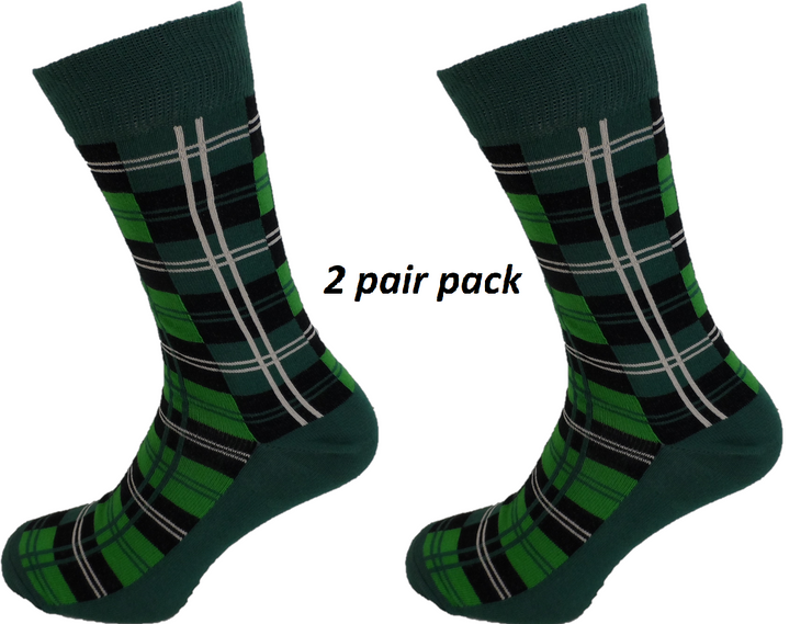 Mens 2 Pair Pack Green Tartan Socks