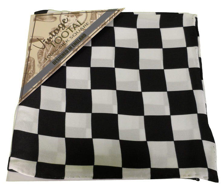 Tootal Black & White Chequered Flag 100% Silk Pocket Square