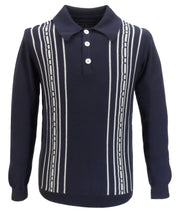 Trojan Records Mens Navy Spear Point Collar Cable Knitted Polo Shirt