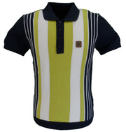Trojan Records Navy Multi Stripe Fine Gauge Knitted Polo Shirt