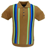 Trojan Records Tan Multi Stripe Fine Gauge Knitted Polo Shirt