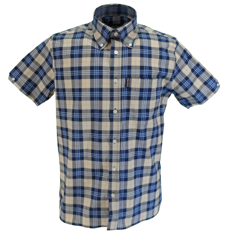 Trojan Mens Stone Check 100% Cotton Short Sleeved Shirts