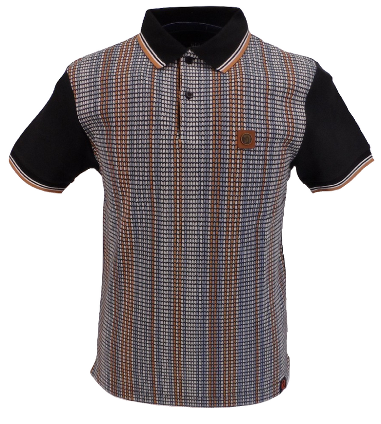Trojan Records Black Striped Front Panel Polo Shirt