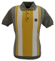 Trojan Records Slate Grey Stripe Fine Gauge Knitted Polo Shirt