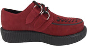T.U.K Burgundy Real Suede Unisex Rockabilly Creepers