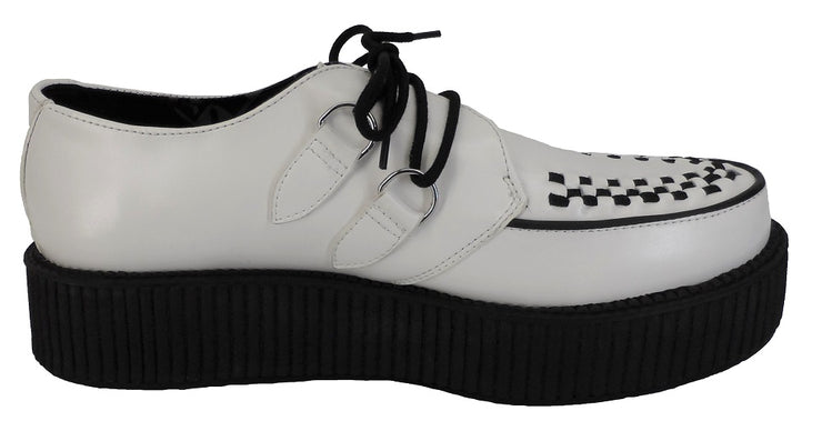 T.U.K White/Black Unisex Rockabilly Hi Creepers