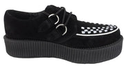 T.U.K Black/White Suede Unisex Rockabilly Hi Creepers