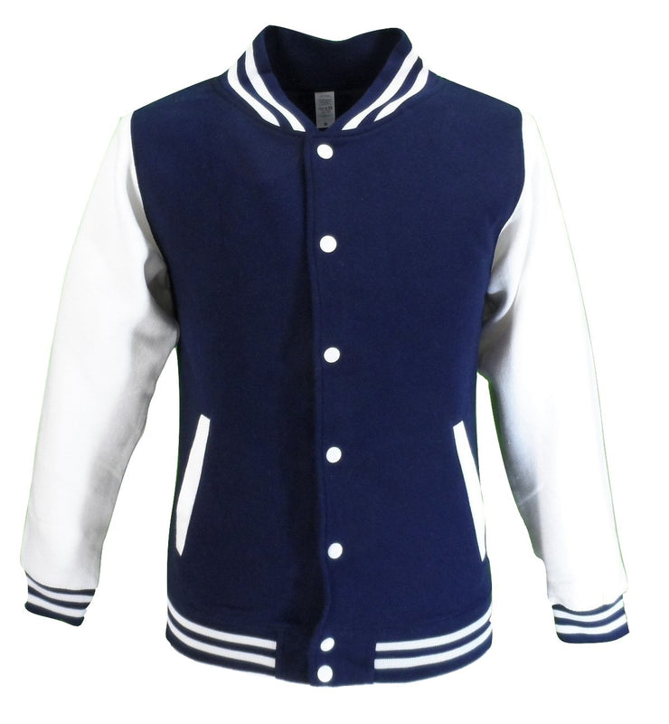 Mens Retro Navy/White Varsity Letterman Jackets