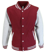 Burgundy/Grey Varsity Letterman Jacket